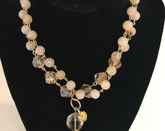 32 Inch Citrine and Crystal Necklace With Gold Vermeil Leaf Pendant