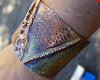 Leather Laced Fold-formed Copper Cuff