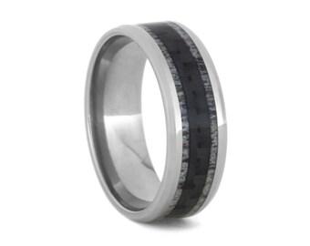 Unique Carbon Fiber Ring, Deer Antler Wedding Band With Titanium, Men's Jewelry