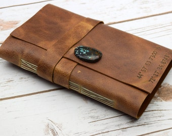 Leather Journal - Personalized Travel Journal  - Writing Engraved Notebook