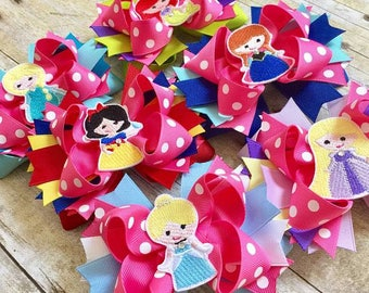 PICK YOUR PRINCESS - Personalized Embroidered Over the Top T-Tot Boutique Style Hair Bow