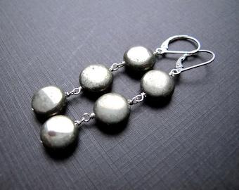 Geometric Pyrite Drop Earrings, Sterling Silver Coin Shaped Dangles