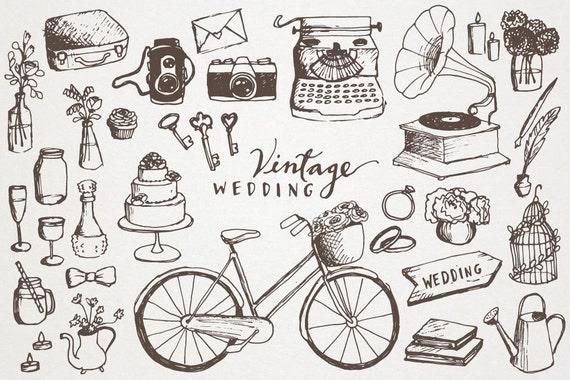 vintage wedding clipart hand drawn clip art vintage elements rh etsystudio com vintage wedding clipart vintage wedding clip art