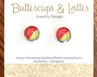Watermelon Fruit Stud Earrings 10mm