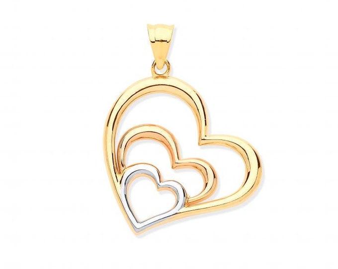 9ct Yellow Rose White Gold 2.6cm Trilogy Heart Charm Pendant