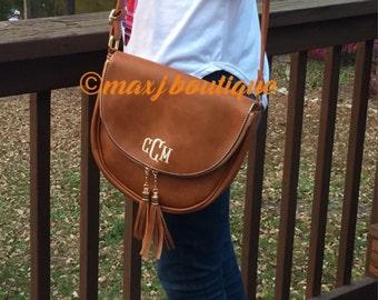 Tassel Crossbody bag - monogrammed handbag - personalized shoulder purse