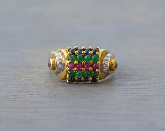 Vintage 14k Yellow Gold Striped Multi Gemstone Ring - Retro Diamond, Sapphire, Ruby, Emerald Cocktail Ring - 1980s Anniversary Gift