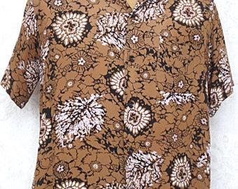 Vintage 1950s Rayon Hawaiian Shirt / 1940s Rayon Men's Shirt / Harper Hawaiian Shirt Size Medium