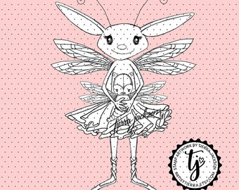 Tierra's Lovebugs Dragonfly Mama and baby - instant download digital stamps by Tierra Jackson