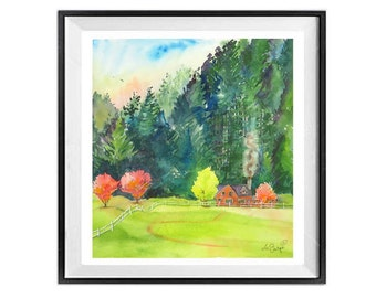 Nature Landscape, Evergreen trees, Forest landscape, Springtime, Cabin in the woods, Woodland painting, Watercolor art, Pink, Green, Trees