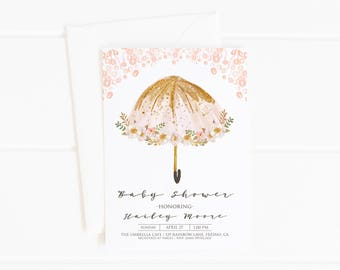 Baby Shower Invitation Girl, Pink Umbrella Baby Sprinkle Printable Invite, Floral It's a Girl, Summer April Showers, Blush Pink Gold Flowers