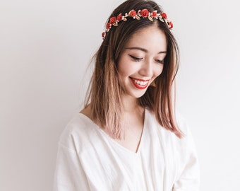 red gold rose, leaf & berry flower crown // red gold leaf crown / red gold flower crown / red gold / christmas gold flower crown