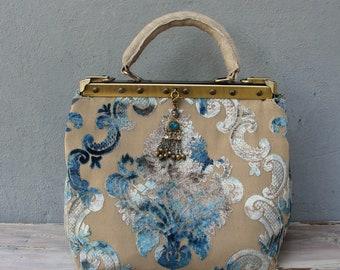Bohemian Velvet Bag, Leather Doctor Bag made with Vintage Velvet and Leather, Boho Tapestry Bag