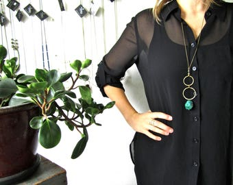 Chrysocolla Faceted Drop Hammered Brass Link Necklace by LM-inspired