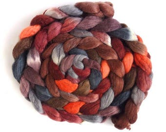 Moving in Circles, Polwarth/Silk Roving - Handpainted Spinning or Felting Fiber