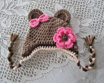 READY TO SHIP - 6 to 12 Month Size - Medium Brown Bear Crochet Bear Hat with Flower and Bow - Winter Hat or Photo Prop