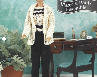 Annie's Fashion Doll Crochet Club Crochet Pattern for Barbie - Blazer & Pants Ensemble - Pants, Top and Sweater - NEW Pattern