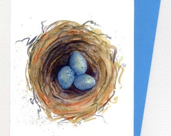 Nest with 3 Blue Eggs  Note Card Watercolor