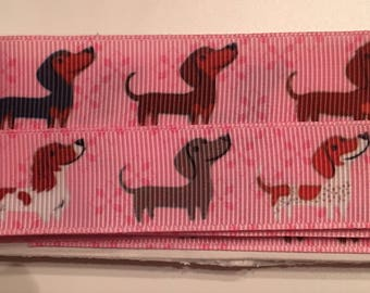 Dachshund (Wiener Dog) Puppies on Pink 7/8 inch Grosgrain Ribbon