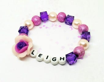 Girls custom name ID bracelet - personalized name bracelet - Premade or diy kit