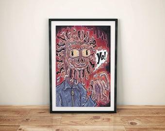 Monster Art - Macabre - Creature Art  -  Weird Strange Painting - Tentacles Freak Lowbrow - The Noodle Man
