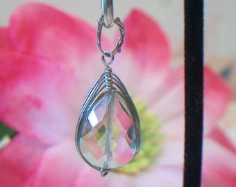 Wire Wrapped Platinum Crystal Pendant Tear Drop Faceted Pear Shape Jewelry