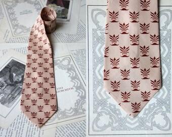 Retro tie 50 s vintage tie small pattern art deco checkered burgundy beige champagne vintage necktie - Haband Paterson