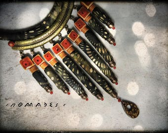 SOLD - necklace multicolor fabric with metal and ceramic black and Brown - dominant nomads