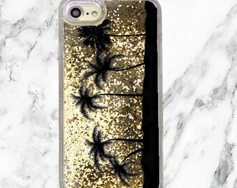 Gold Glitter iPhone Case, Gifts for Her, iPhone 8, 7 Plus, iPhone 7, iPhone 6, iPhone 6 Plus, Holographic Glitter, Palm Trees, Beach Life