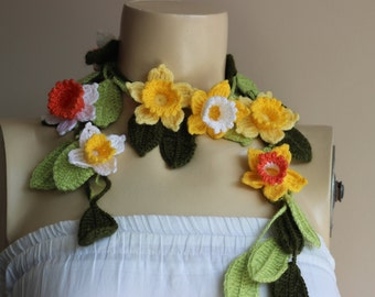 Crochet Lariat Scarf- Flower Lariat Scarf-Yellow,White ,Orange Daffodil/Jonquil/Narcissus Scarf-christmas gift