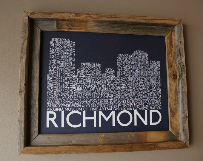 Richmond Skyline Word Art Print (Dark Blue) - Unframed