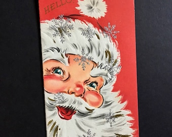 Vintage Christmas Card, Hello! Jolly Santa Claus Twinkle in his Eyes with Silver Glitter Snowflakes