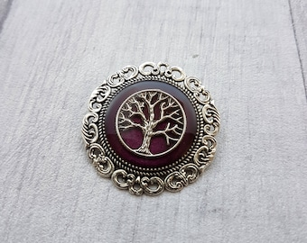 Tree of Life Brooch / Silver and Translucent Plum Purple Pin / Handmade Resin Jewellery / Nature Jewellery / Gifts for Her // Round Brooch