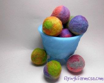 Felted Cat Jingle Balls,  Set of 3 Hand Felted Alpaca Wool Cat Toy, Colorful Felt Balls