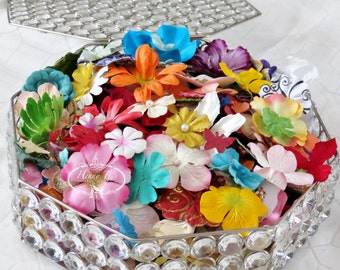 2oz Assortment Colorful Mulberry Paper Flowers Solid and Patterned in Varying Mixed sizes and shapes