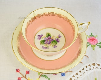 Hand painted violets Paragon cup and saucer