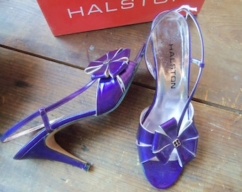 70s HALSTON--Electra Viola--Purple Metallic-Leather Heels--Flowers on the Instep--With Original Box--Size 8M