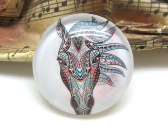 2 cabochons 20 mm glass horse Tribal 2-20 mm