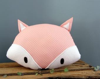 Decorative Fox pillow pink dots