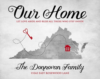 Virginia Map, Housewarming Gift, Our Home Map Location, Family Last Name Wall Sign, Gray, Black and Red, Traditional Colors, Modern Gifts