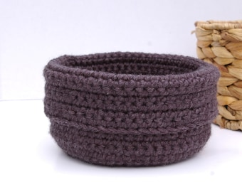 Crochet Bowl Catchall Crochet Basket in Charcoal Grey
