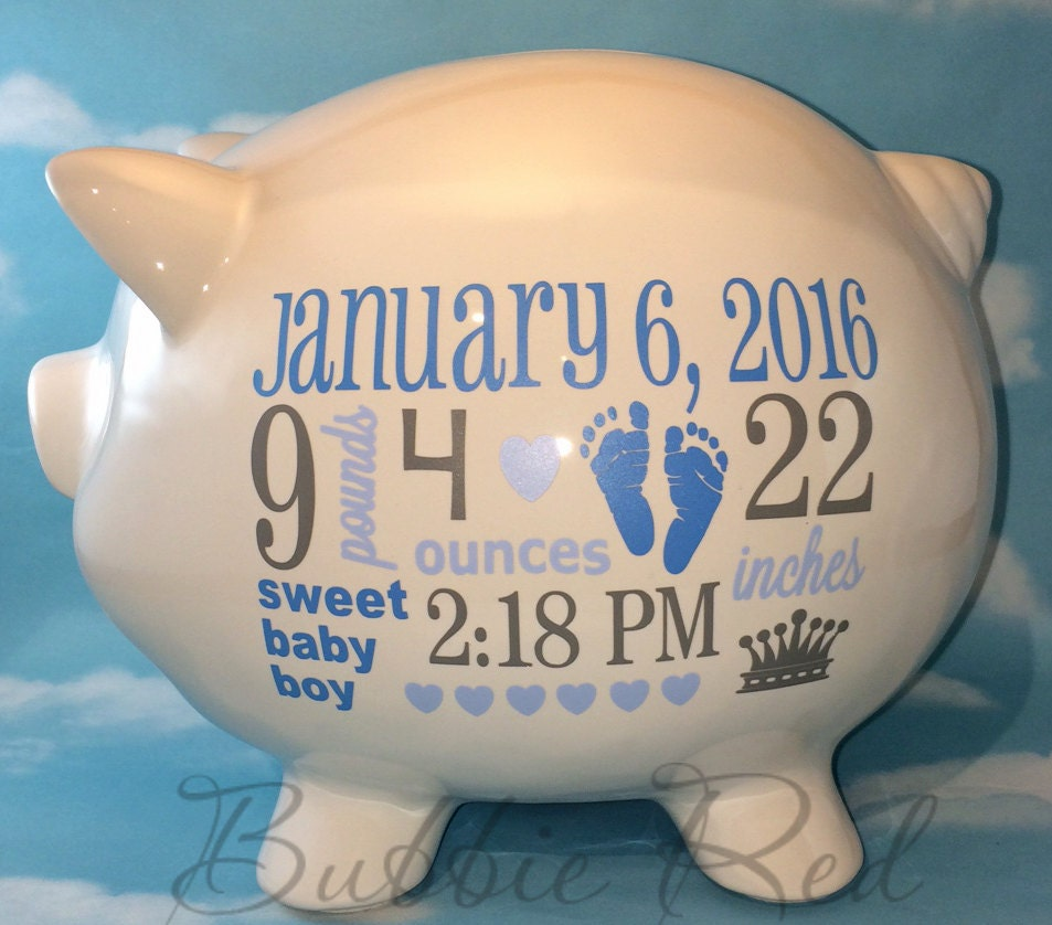 Personalized piggy bank baby boy piggy bank baby birth stats request a custom order and have something made just for you negle Images