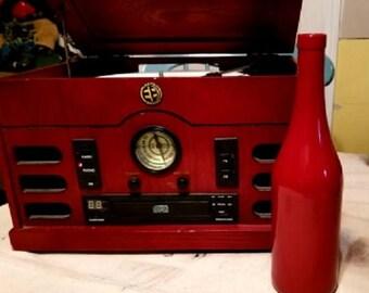 Ruby Red Wine Bottle Vase