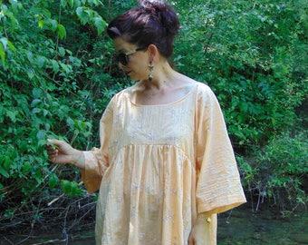 Embroidered shirt/Orange Cotton Shirt/Women's Shirt/Shirts/Loose Shirt/Plus size Shirt/Maxi size Shirt/Oversize Shirt Top/Elegnt Shirt/Top/