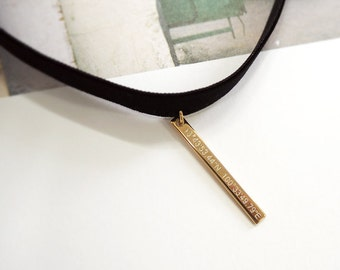 Black Choker,coordinate necklace,Bar Necklace,Black Velvet Choker,Gold Bar necklace,Personalized necklace,Vertical Bar,initial necklace,3*32