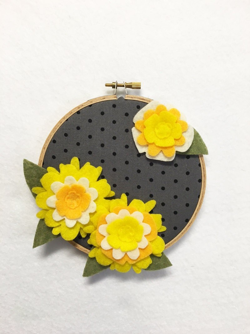Flower Wall Art, Embroidery Hoop Art, Mellow Yellow, Nursery ...