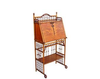 Antique Desks Ball & Stick Furniture British Colonial Oak Secretary Vintage Spindle Writing Desk Rare 1880s Tropical Island Style