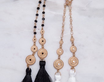 4mm Glass Bead Chain with 3 Circle Metal and Tassel