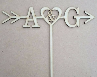 Arrow initial wedding cake topper personalised rustic wood wooden acrylic custom