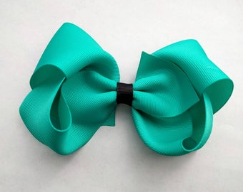 "Large 6"" Boutique Bows, big girl bows, large hair bow, turquoise hair bow, burgundy hair bow, big hair bow- hair accessories"